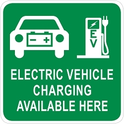 Electric Vehicle Charging Station Wall Sign - Large with Car & Pump Graphics