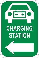 Electric Vehicle Charging Station Directional Sign - Car Graphic w/ Left Arrow