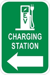 Electric Vehicle Charging Station Directional Sign - Pump Graphic w/ Left Arrow