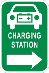 Electric Vehicle Charging Station Directional Sign - Car Graphic w/ Right Arrow