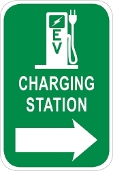 Electric Vehicle Charging Station Directional Sign - Pump Graphic w/ Right Arrow
